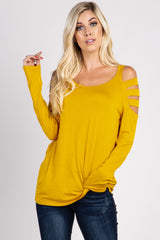 Mustard Yellow Solid Cutout Shoulder Top