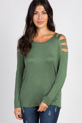 Olive Solid Cutout Shoulder Maternity Top