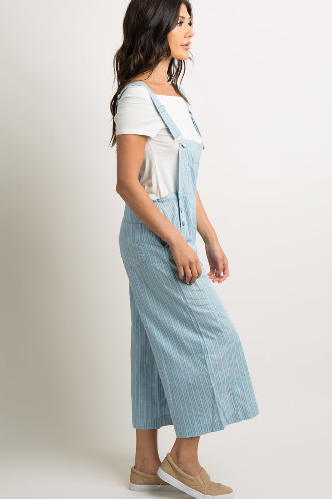 Blue Pinstriped Pocket Front Overalls