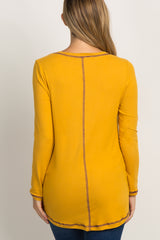 Yellow Top Stitch Scoop Neck Long Sleeve Maternity Top