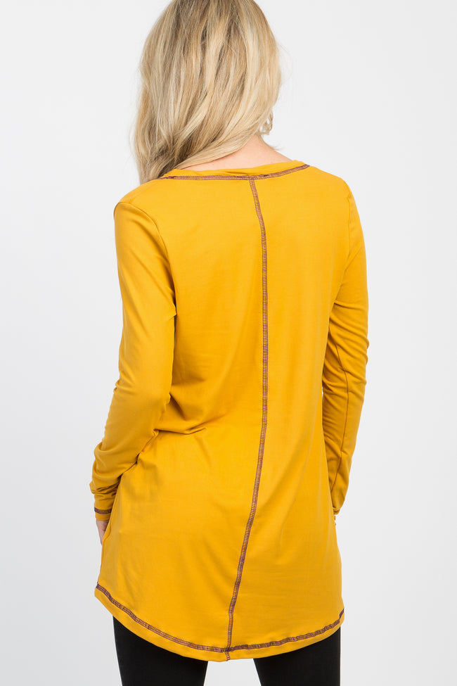 Yellow Top Stitch Scoop Neck Long Sleeve Top