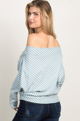 Light Blue Striped Off Shoulder Dolman Top