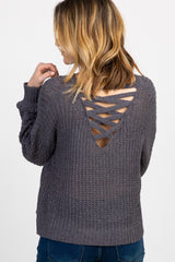Charcoal Knit Crisscross Back Cropped Sweater