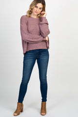 Mauve Open Knit Crisscross Back Cropped Sweater