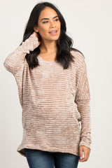 Taupe Chenille Dolman Sleeve Maternity Sweater