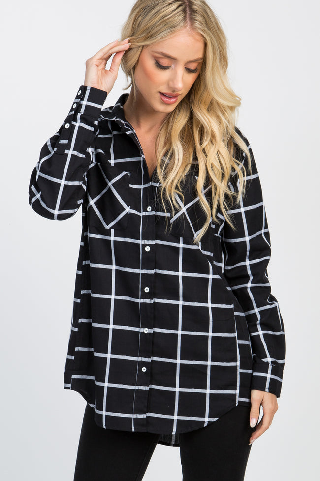 Black Plaid Button Down Pocket Front Maternity Top