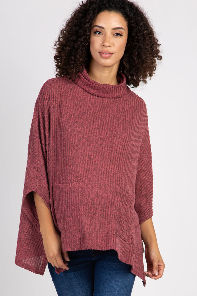 Red Ribbed Front Pocket Turtle Neck Maternity Poncho Top