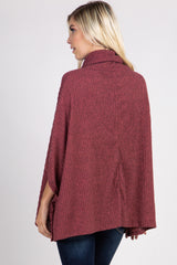 Red Ribbed Front Pocket Turtle Neck Poncho Top