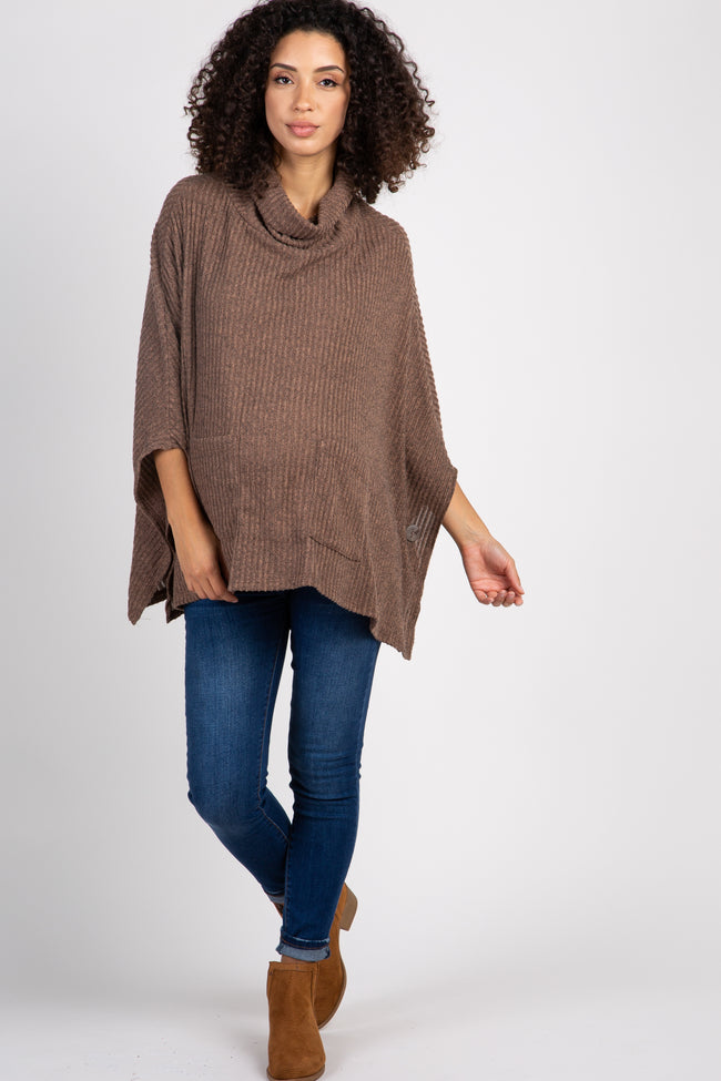 Mocha Ribbed Front Pocket Turtle Neck Maternity Poncho Top