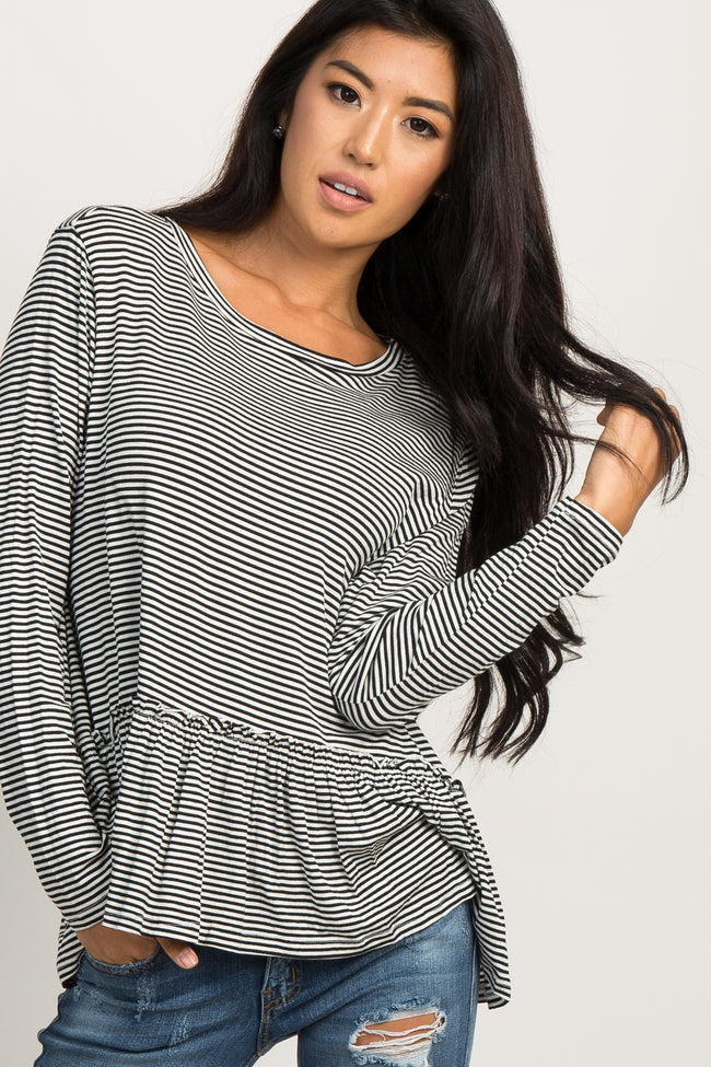Black Striped Ruffle Trim Long Sleeve Top