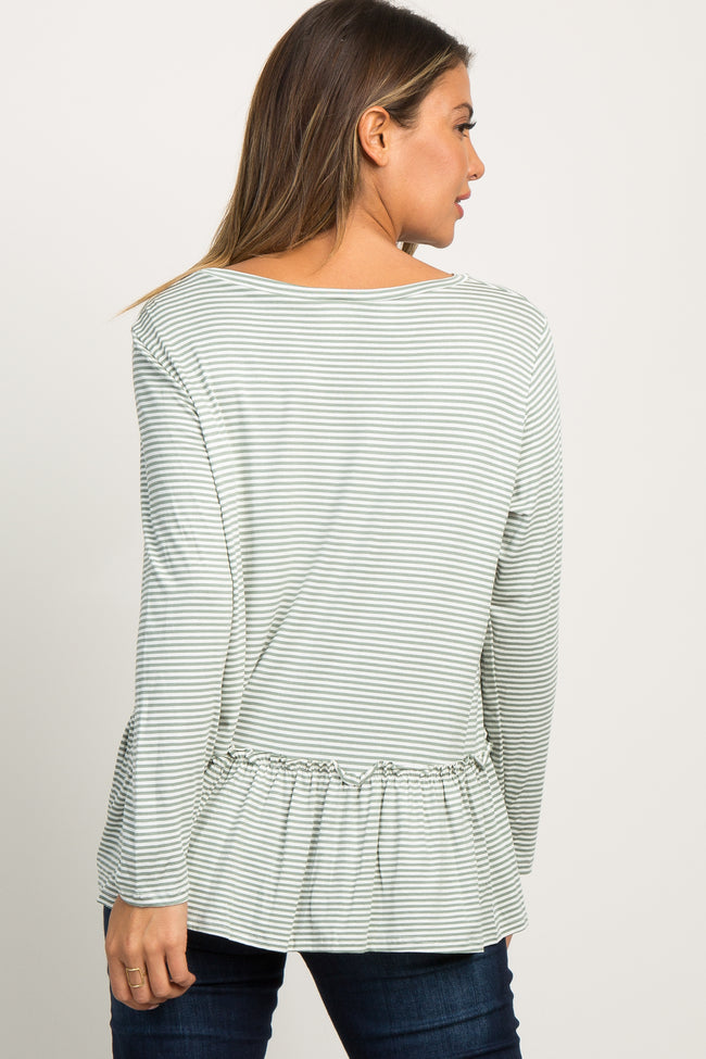 Olive Striped Ruffle Trim Long Sleeve Top