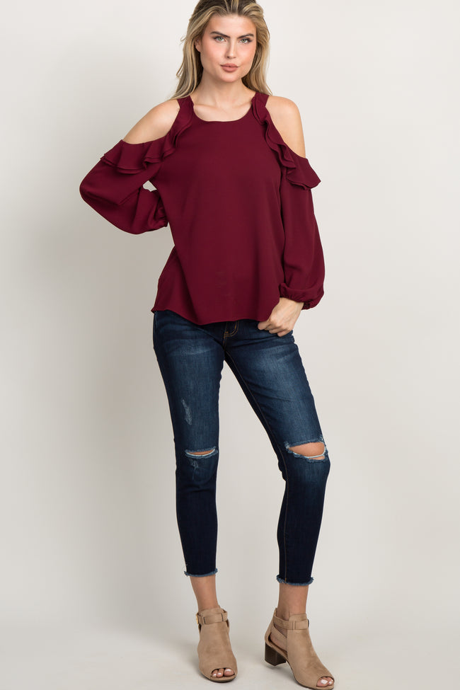 Burgundy Ruffle Cold Shoulder Maternity Top