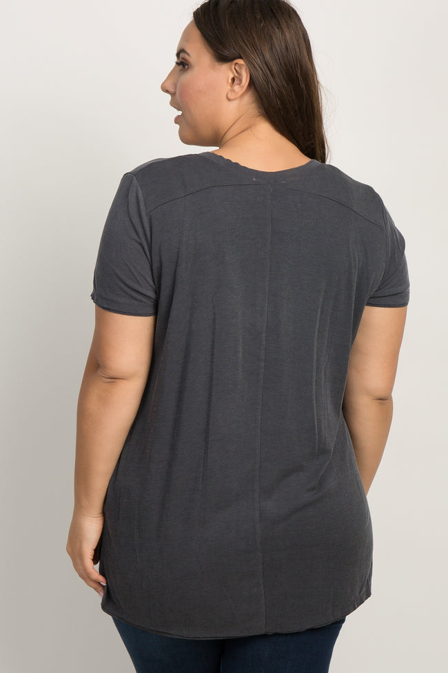 Charcoal Ribbed Short Sleeve Plus Tee