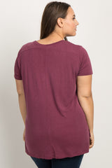 Burgundy Ribbed Short Sleeve Plus Tee