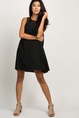 Black Sleeveless Lace Accent Shift Dress