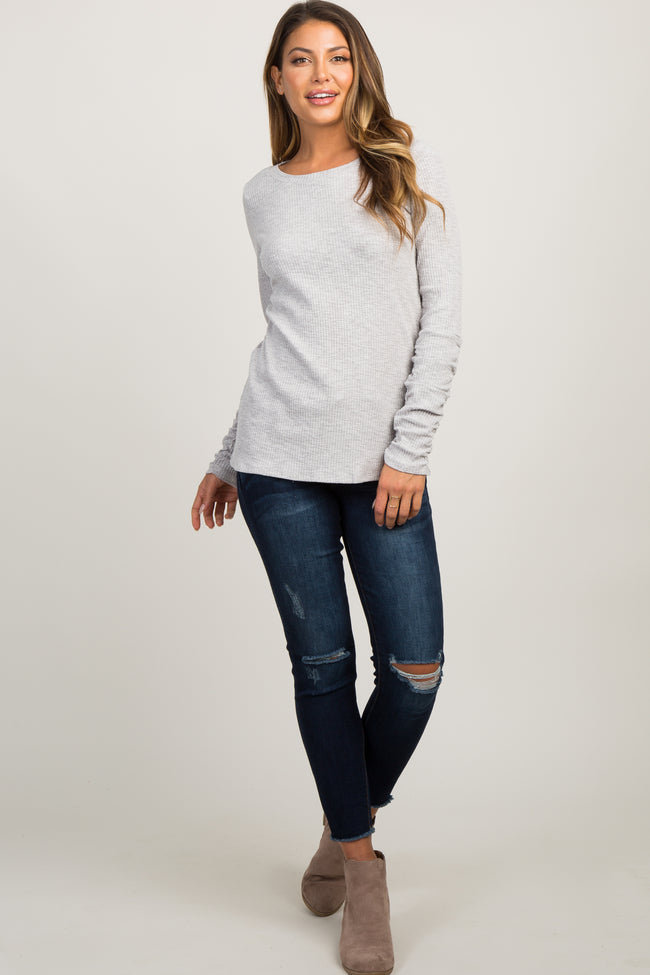 Heather Grey Solid Long Sleeve Ruched Top