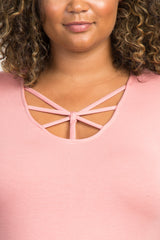 Pink Solid Caged Front Plus Maternity Top