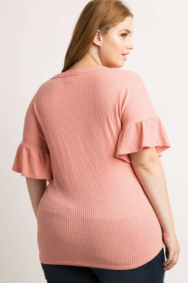 Coral Waffle Knit Button Tie Front Plus Top