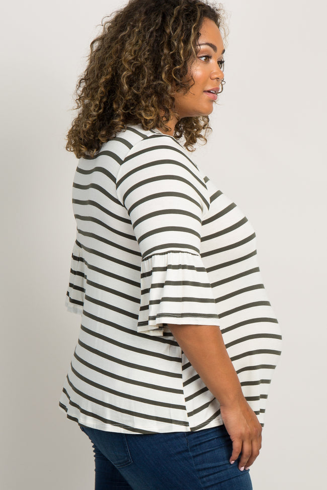 Olive Green Striped Ruffle Sleeve Plus Maternity Top