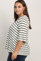 Olive Green Striped Ruffle Sleeve Plus Top