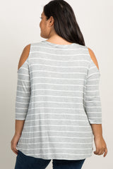 Heather Grey Striped Cold Shoulder Plus Maternity Top