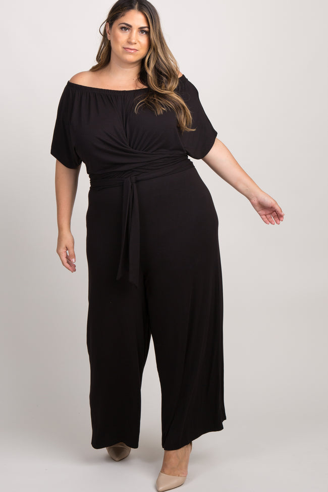 Black Off The Shoulder Wrap Plus Jumpsuit