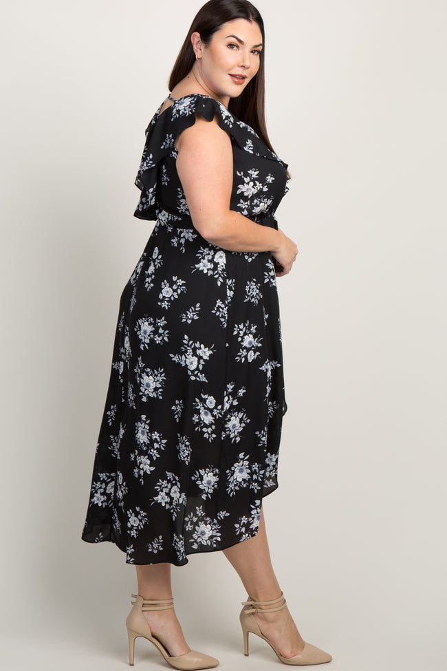 Black Floral Ruffle Accent Hi-Low Plus Wrap Midi Dress