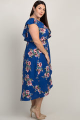 Royal Blue Floral Ruffle Accent Hi-Low Plus Wrap Midi Dress