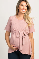 Mauve Layered Wrap Tie Front Maternity Top