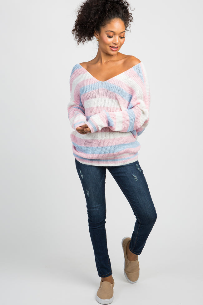 Pink Striped Knit Twist Back Sweater