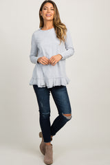 Heather Grey Pinstriped Raw Cut Ruffle Trim Top