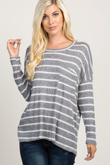 Navy Striped Waffle Knit Pocket Maternity Top