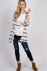 Beige Striped Dolman Cardigan