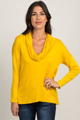 Yellow Cowl Neck Long Sleeve Maternity Top