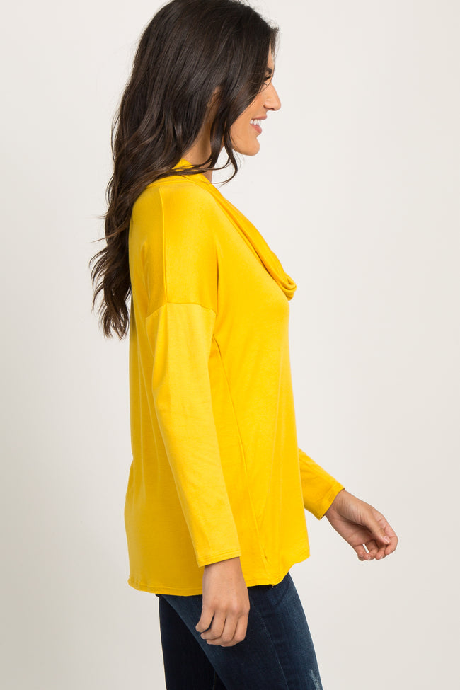 Yellow Cowl Neck Long Sleeve Top