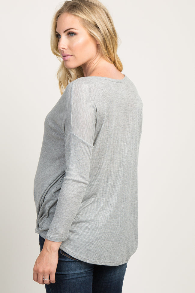 Heather Grey Draped Wrap Front Maternity Top