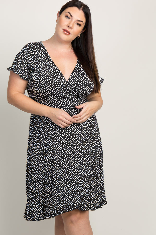 Black Polka Dot Ruffle Trim Plus Maternity Wrap Dress