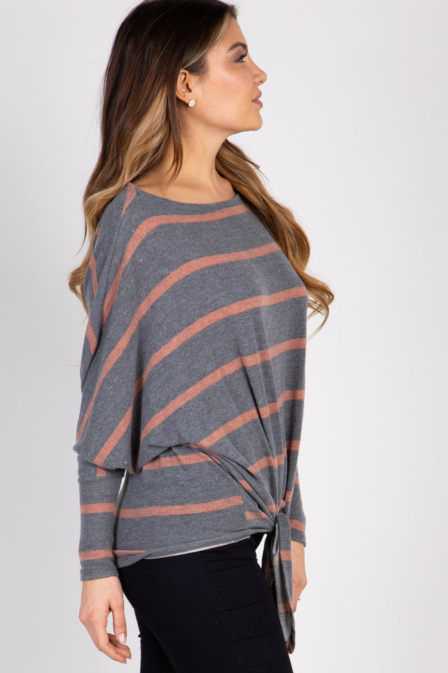 Rust Striped Tie Front Dolman Long Sleeve Top