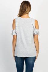 Heather Grey Striped Cold Shoulder Ruffle Trim Knotted Hem Top