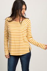 Yellow Striped Long Sleeve Maternity Top
