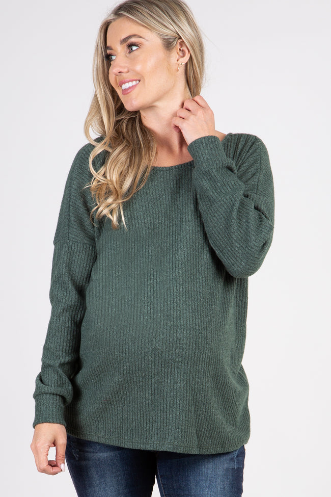 Green Ribbed Button Back Knit Maternity Top
