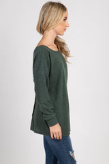 Green Ribbed Button Back Knit Top