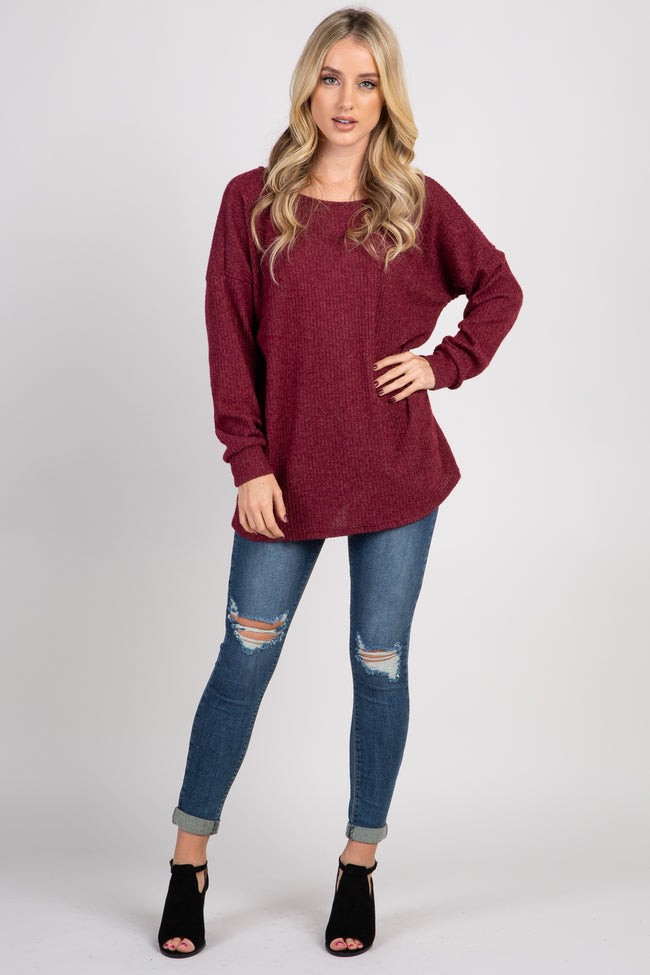 Burgundy Ribbed Button Back Knit Top