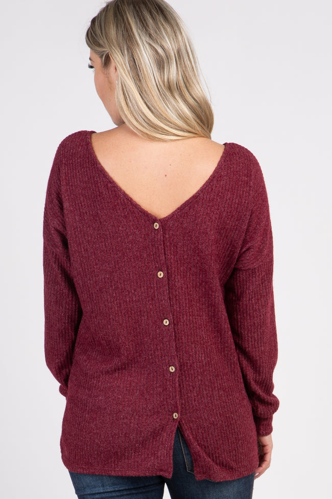 Burgundy Ribbed Button Back Knit Maternity Top