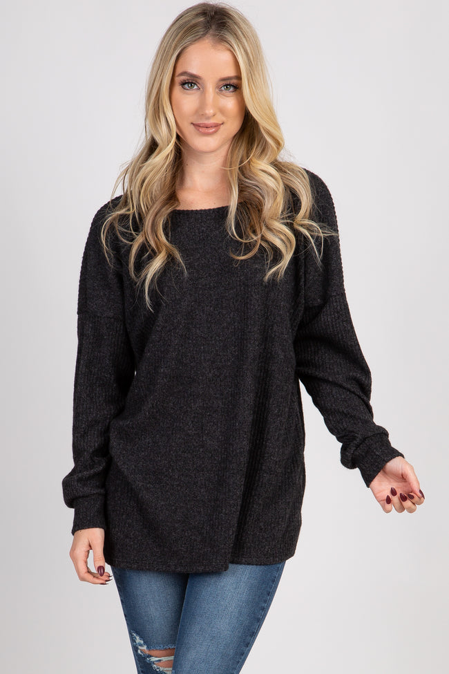 Charcoal Ribbed Button Back Knit Maternity Top