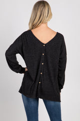 Charcoal Ribbed Button Back Knit Top