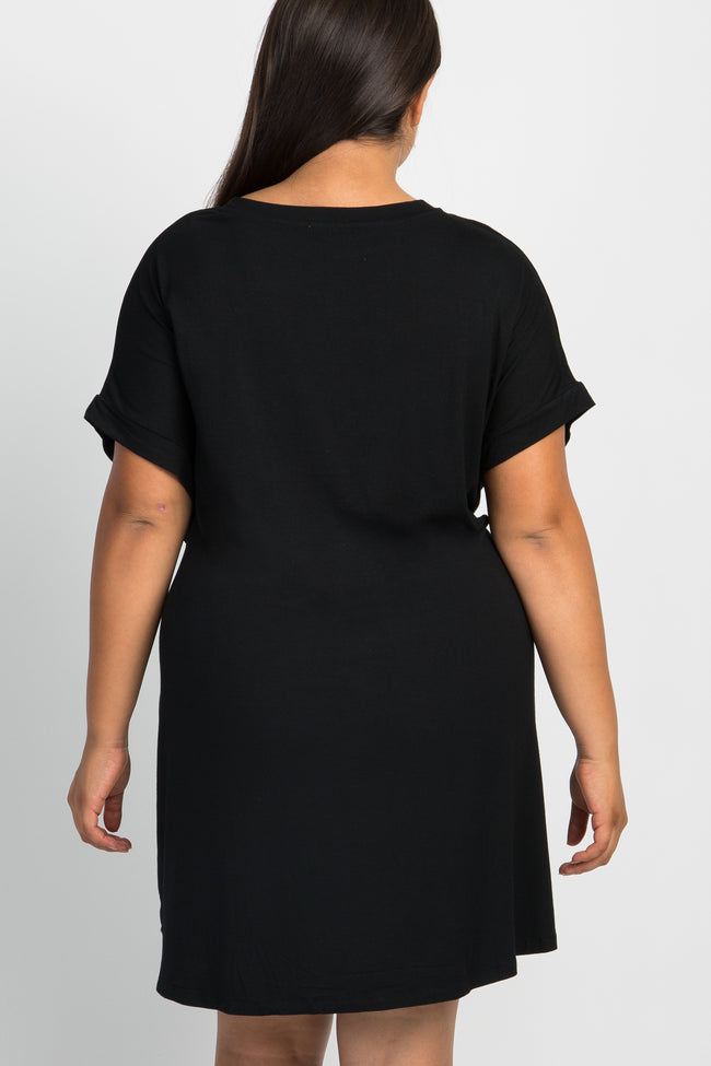 Black Tie Front Plus Shift Dress