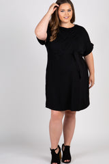 Black Tie Front Maternity Plus Shift Dress