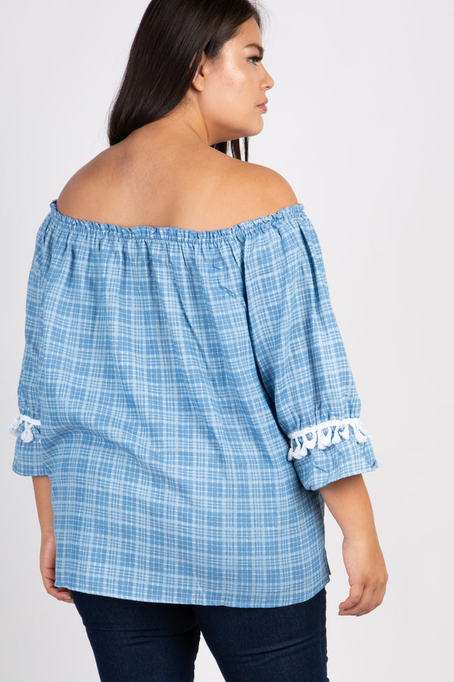 Light Blue Plaid Tassel Trim Plus Top