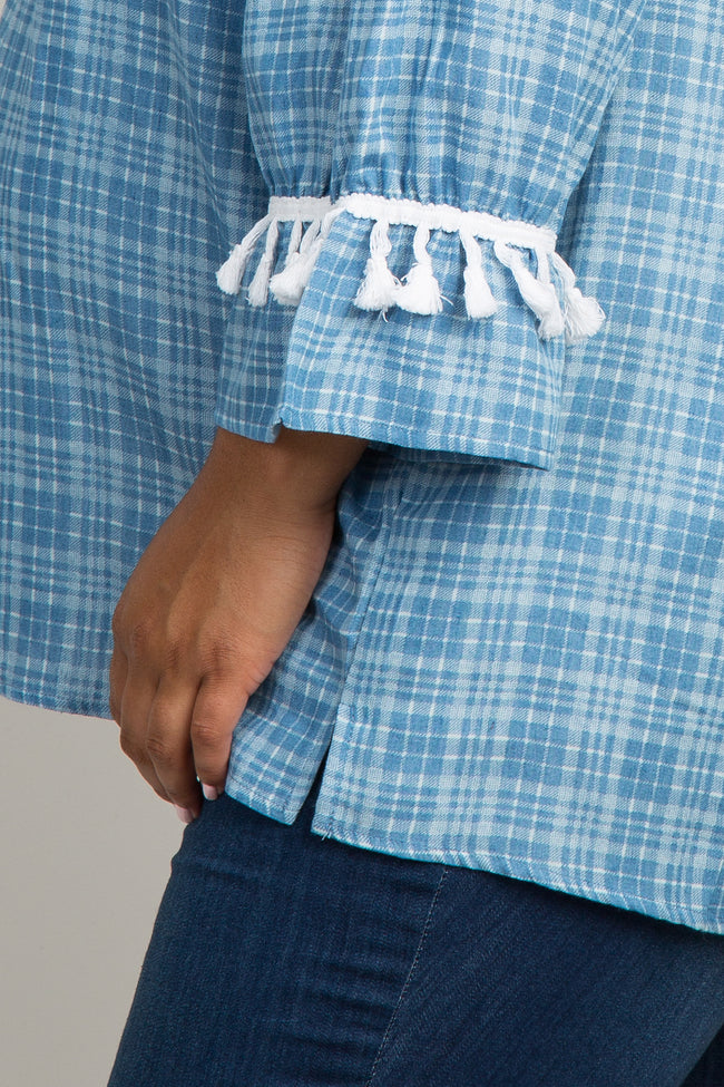 Light Blue Plaid Tassel Trim Maternity Plus Top